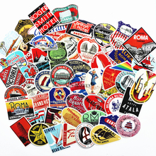 55pcs mixed Retro Style travel hotel logo Roma Paris Los Japan Chicago Hawaii baghdad trip Luggage sticker waterproof decal