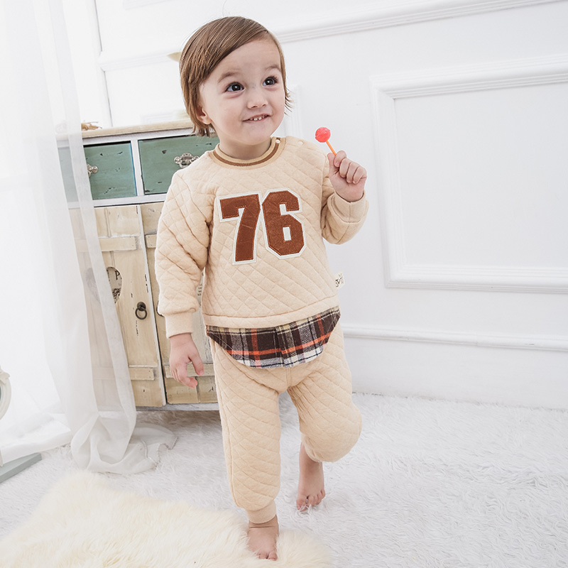 Spring Baby Boy Casual Outfits Clothes Infant Tiny Boys Pullover Shirt+Pants Fake Two Pieces Organic Cotton Plaid Sets Costume<br>