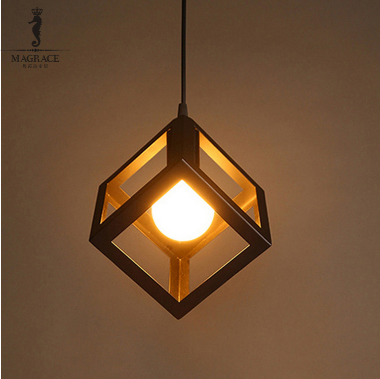 16*16cm Cube Shape Iron Cage Lampshade Vintage Pendant Light   Retro Indoor Lighting for Living Room Dining room E27 Base<br>