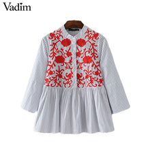 Vadim women sweet floral embroidery striped shirts three quarter sleeve pleated blouse ladies summer casual tops blusas LT1922
