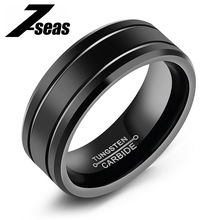 Fashion Men Jewelry Double Path Ring Classical Tungsten Steel 2 Rows Black Big Ring For Man Best For Anniversary Gift,JM245W