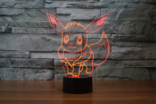 2016 New Pokemon Go Collection Game Figure Toys Pokemon Eevee USB/Battery Powered 3D Colorful Touch Night Light Kids Gift(China)