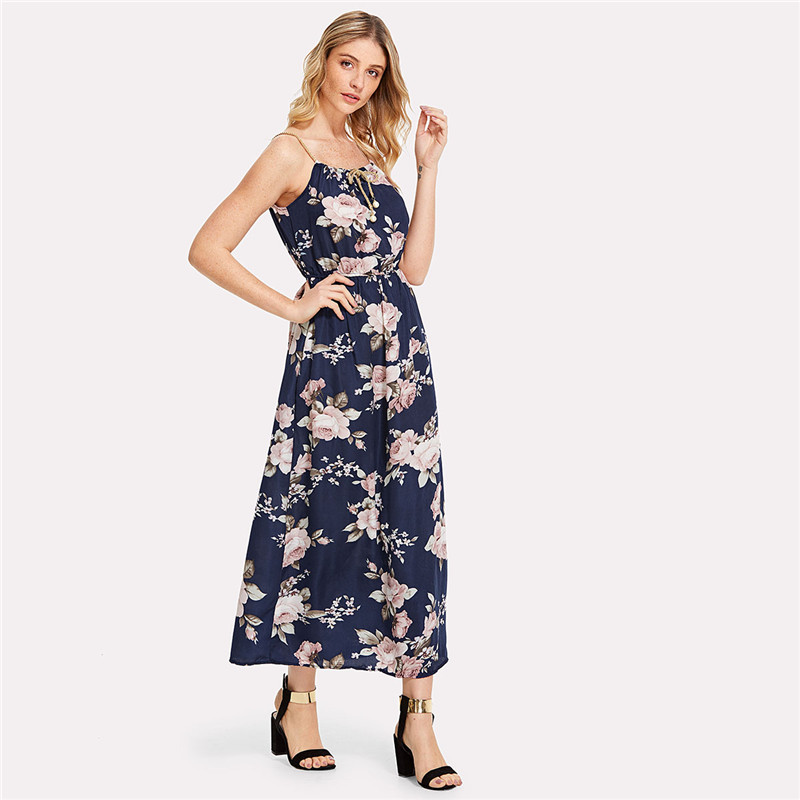 COLROVIE 2018 All Over Florals Faux Pearl Detail Cami Dress Ladies Sleeveless A Line Dress Spaghetti Strap Vacation Dress 13