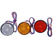 Car Motorcycle 24SMD LED Tail Brake Turn Signal Light Lamp Round Reflector Motobike LED Lights Red White Yellow Light 12V(China)