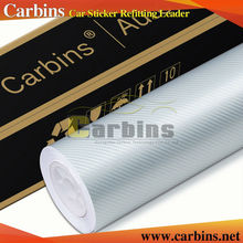Silver high quality 4D carbon fibre vinyl roll car wrapping sticker 1.52*30m