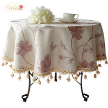 Proud Rose Rural Purple Flower Round Tablecloth Customized Household Thicken Square Table Cloth Fashion Hotel Party Table Cover(China)