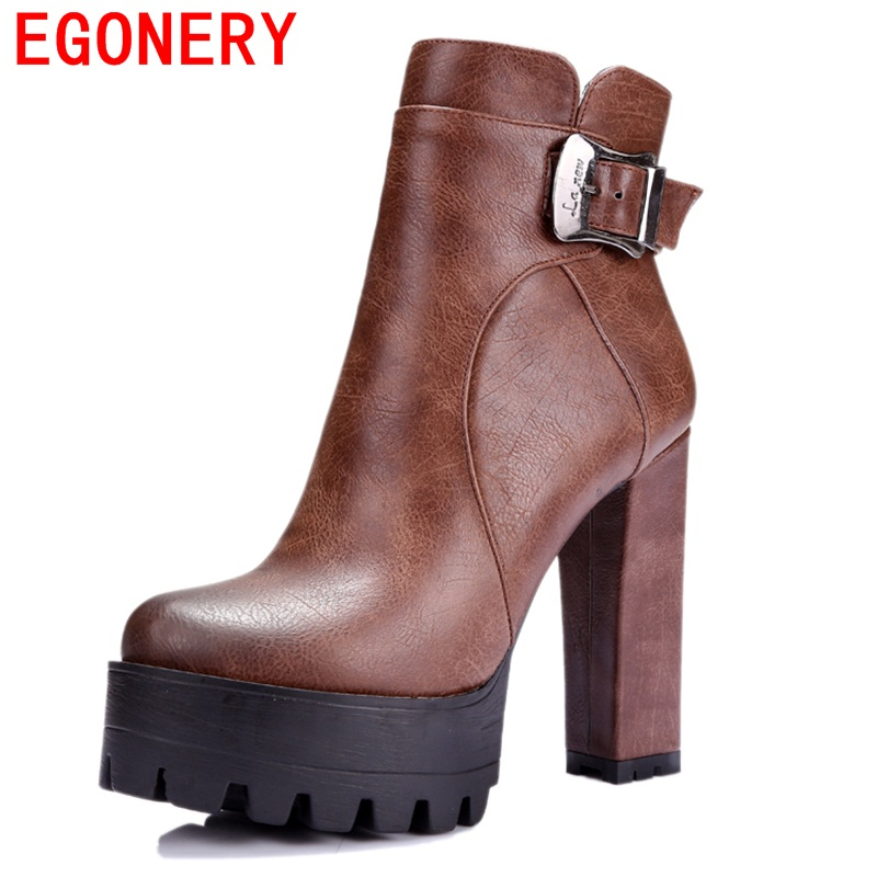 EGONERY shoes 2017 punk style women fashion ankle boots retro buckles hoof high heels zapatos mujer riding equestrian shoes<br>