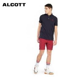 Alcott Мужская рубашка поло мужская деловая Повседневная однотонная Мужское поло рубашка с коротким рукавом высокого качества из чистого хло...