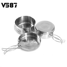 Camping Cookware Pot 4 Pieces/Set Outdoor Portable Camping Picnic Cookware Tableware Stainless Steel Pan Pot Bowl Cooking Sets