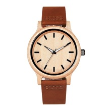 Japanese Miyota 2035 Movement Wristwatches Genuine Leather Bamboo Wooden Watches For Men And Women Gifts Relogio Masculino(China)