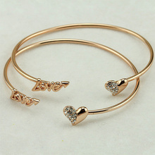 Vintage Silver Gold Color Adjustable Open Bangles Love Cuff Bracelet Crystal Heart Charm Cubic Zirconia Rhinestone Jewelry(China)