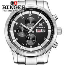 Binger Best sale Stainless Men Watches Army Sport Wristwatch Luxury Clock Military F1 relogio quartz steel analog chronograph(China)