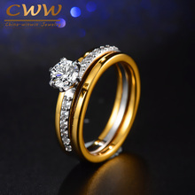 CWWZircons Brand Two Tones Color Gorgeous Cubic Zirconia Engagement Jewelry Wedding Band Ring Set For Women R088(China)