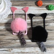 Cute Cartoon Cat ear Pom Pom Fur Ball Tail Tassel Phone case for Samsung galaxy s6 s7 edge s8 plus note 8 4 5(China)