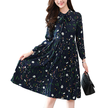 2017 Autumn Fashion Women Chiffon dress Long Sleeve print floral Pleated hobo dresses Casual plus size Dress vestidos(China)