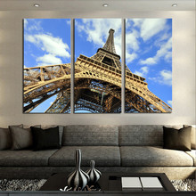 Eiffel Tower Up Photograph Canvas Print Paris Blue Sky Tour Landscape Wall Art Painting Pictures Large Triptych No Frame(China)