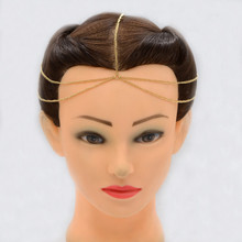 Women New Diy Indian Headband Gold Silver 3 Layer Tassel Metal Head Chain Hair Band Headchain Wedding Jeweled Accessories
