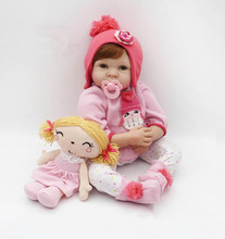 55cm Soft Silicone Reborn Baby Doll Toys Like Real Newborn Princess Toddler Dolls With Plush Toy Girl Lovely Birthday Gift(China)