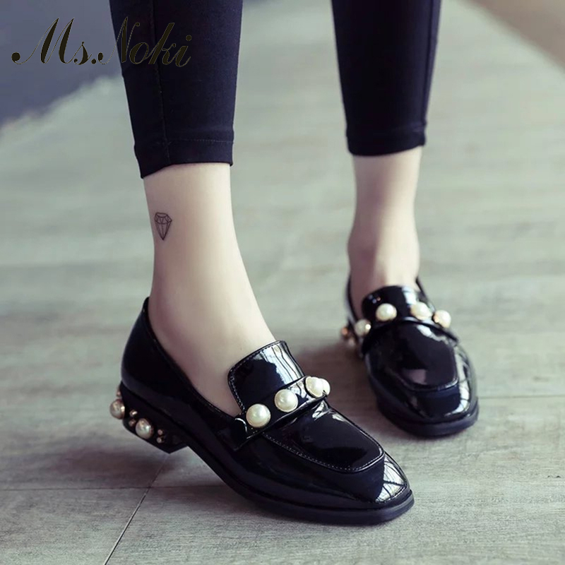 Ms. Noki 2017 new fashion trend Women square heel  Shoes Slip On Shoes Women comfortable bead Women Matte slip-on pump shoes<br><br>Aliexpress