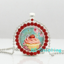 HZShinling New Pink Cupcake Necklace Cherry Cupcake Crystal Pendant Glass Picture Jewelry Ball Chain Necklaces Silver Round(China)