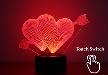 Love Heart USB Lampara Led Lights Cupid's Arrow 3D Touch Table  Lamp for Wedding Decoration Fairy Night Lights Valentine Gifts