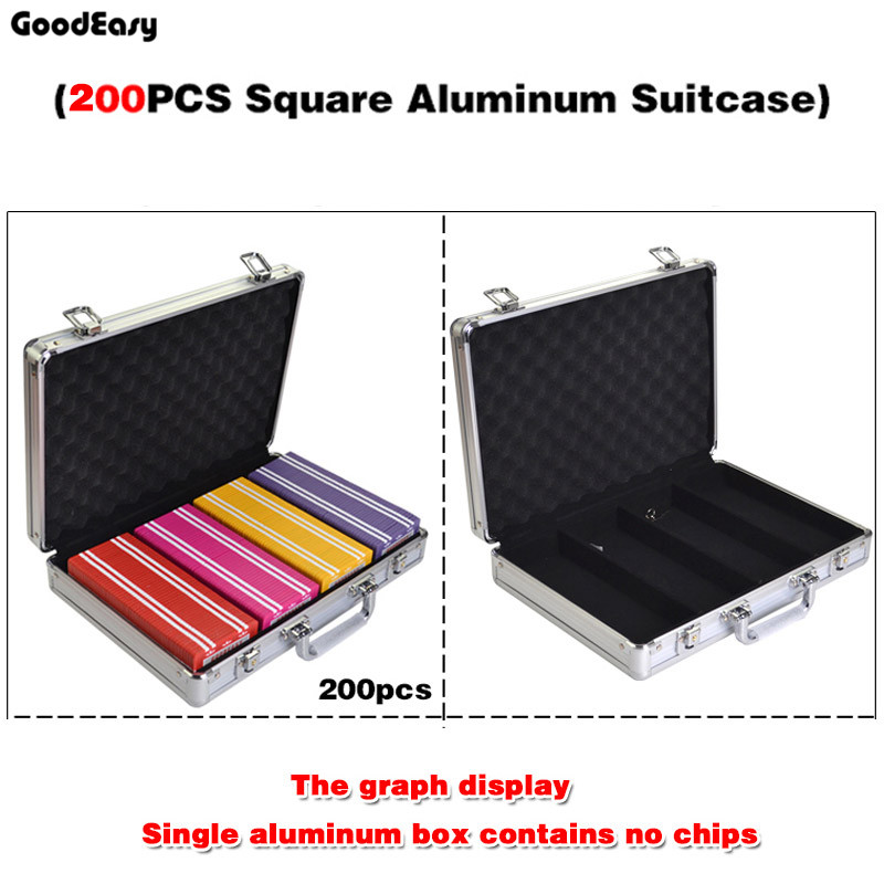 200PCS Capacity  SQUARE Chips Suitcase Chip Container Chip Case/Box Poker Chips Square Aluminum Suitcase <br>