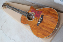 41'' koa body acoustic guitar with B-Band pickups,vine inlay,solid top,golden tuners,red pearl pickguard,can be customized