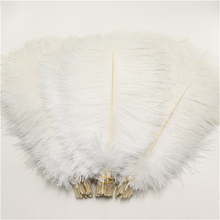 50 pcs/lot natural white ostrich feather 25-30 cm / 10 to12 inches plumages  ostrich feather for wedding decorations plume