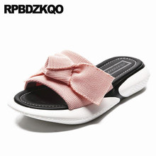 2fde7679978bf Flatform Slip On Elegant Women Sandals Flat Summer 2018 Harajuku Bow Shoes  Bowtie Open Toe Pink Holiday Slides Kawaii Cute