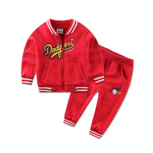 2017 Newest Spring Baby Boys Suits Korean Children Kids Cotton Fleece Jacket+Pants 2 Pcs Suits Infant/Newborn Girls Clothes