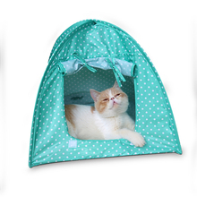 Pet Cat Play Tent Small Dog Kitten Camping Kennel Foldable Portable Indoor Outdoor Bed House Cat Supplies Pink Green Yellow