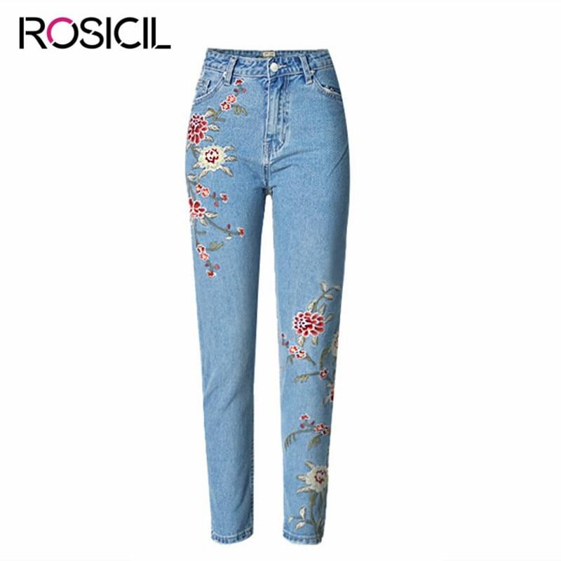 Fashion Woman High Waist embroidery Jeans Woman Pencil Jean Ankle-Length Pants  Embroidered Jeans For Women Elastic Flower JeansÎäåæäà è àêñåññóàðû<br><br>