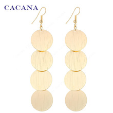 CACANA  Dangle Long Earrings For Women Beautiful Round With Twill Bijouterie Hot Sale No.A626A627