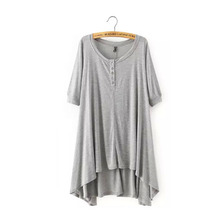 Sexy Women Asymmetric Long Deep V-Neck Loose T-Shirt Dress Knitwear Cotton Fabric Boho People High Low Dress Oversized 3 Color