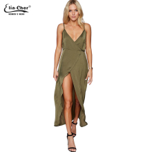 New Womens Khaki Spaghetti Strap Silk Dress Eliacher Brand Casual Plus Size Loose V-Neck Wrap Maxi Dress Sashes Vestido 8701