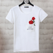 PEILING DRAGON high-end custom stereo pocket embroidery floral short sleeved T-shirt printing letters rose t shirt