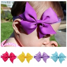 20Pcs/lot 3.5 Inch Kids Headband Ribbon Bow Headband For Newborn Hair Kid Top Knot Headband 568(China)