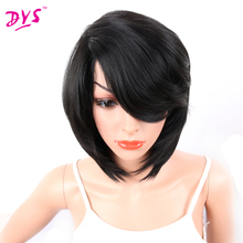 Deyngs Short Bob Synthetic Wigs With Bangs For Black African American Women Pixie Cut Natural Hair Wigs Haircuts Kanekalon Hair(China)