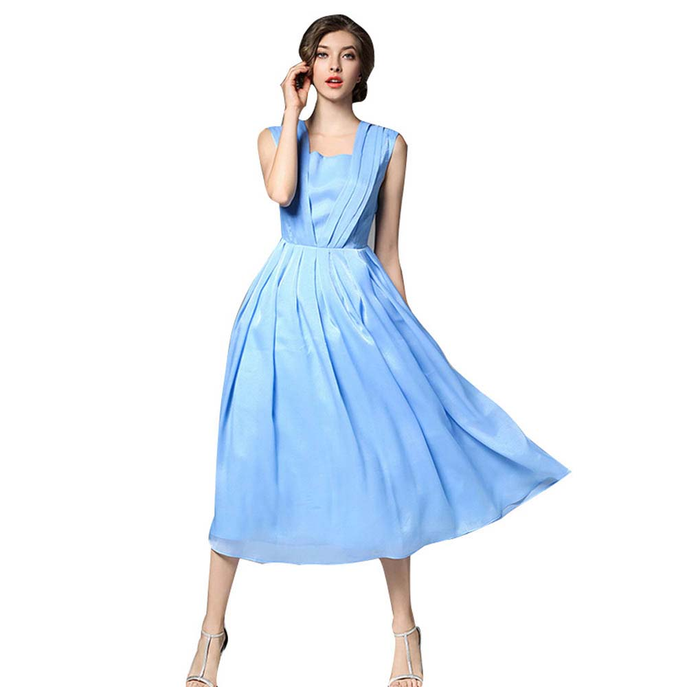 Alibaba Express Brand Clothes 2017 Summer New Arrival Chiffon Dress Women Blue Pink Gray Plus Size S M L Xl Long Vestidos In Dresses From