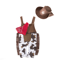 Baby Cowboy Clothes Sets Infant Toddler Boy Clothing 3pcs Hat+Scarf+Suspender Romper Fashion American Style Kids Outfits 0-2 Yrs(China)