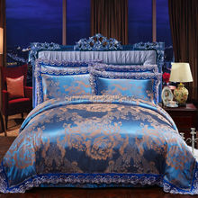 4Pcs Luxury Royal Silk Lace Satin Floral Cotton European Style Queen King Size Bed Quilt/Doona/Duvet Cover Set Flower Jacquard