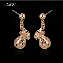Purse Designer Cubic Zirconia Inside Drop/Dangle Earrings Rose Gold Color Fashion Brand Jewelry For Women Wholesale DFE287
