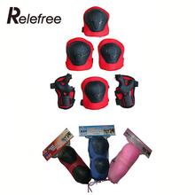 Relefree 6 Pcs Outdoor Skating Protective Gear Sets Elbow Knee Pads Bike Skateboard Protective Gear Pad For Kids Outdoor Tool(China)