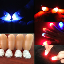 2pcs(1pair) Amazing Funny LED Light Flashing Finger Magic Trick Props Kids Fantastic Glow Luminous Toys(China)