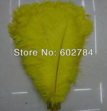 Free Shipping 100pcs/lot Yellow ostrich drab feather ostrich plumes 16-18inch 40-45cm for wedding centerpieces