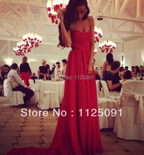 2017 Fast Shipping A line Sweetheart Pleated Chiffon Long Train Charming Red Bridal Dress weddings & events Evening Prom Dress