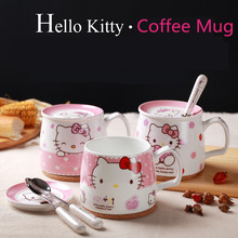 Hello Kitty Cups Coffee Milk Mugs with Lid Spoon Cute Cartoon Mug Morning Cups Ceramic Home Breakfast Tea Cup Girl Xmas Gifts