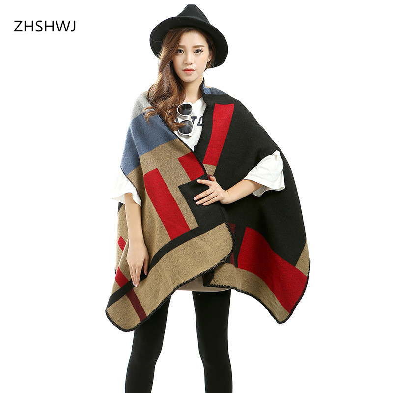 [ZHSHWJ] Variety can wear spring and winter scarf shawl dual Ms. warm thick wool plaid air conditioning cape