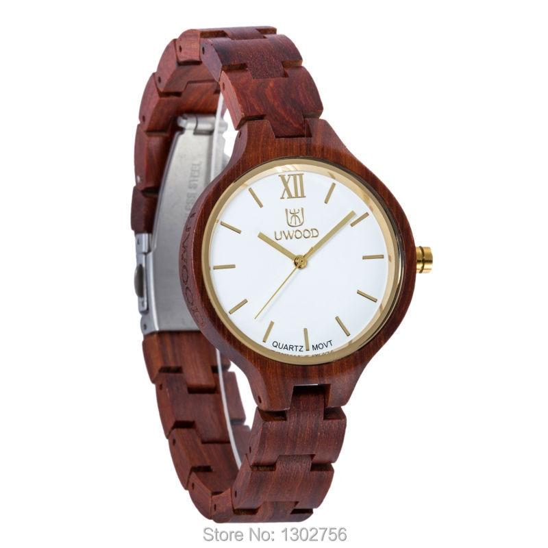 Uwood 2016 Fashion Red Sandal Wooden Quartz Women Wristwatches High Quality Quartz Movement Wood Watch Relojes<br>