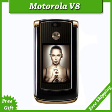 Refurbished luxury version motorola V8 original unlocked GSM mobile phone with english keyboard / russia keyboard simple set